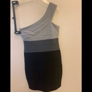 One shoulder gray and black dress